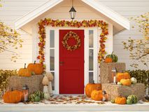 Free Autumn Decorated House With Pumpkins And Hay. 3d Rendering Stock Image - 102131221