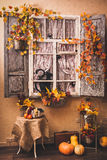 Autumn decorated patio. stock photo