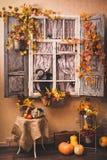 Autumn decorated patio. Royalty Free Stock Photo