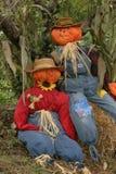 Autumn decoration. Two scarecrows depicting autumn decoration Stock Image