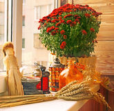 Autumn decoration of balcony Royalty Free Stock Image