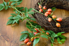 Autumn decoration of rose hips. floristry. Stock Photo