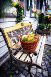 Autumn decoration in small european city royalty free stock photography