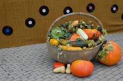 Autumn decoration of vegetable in wicker backet Royalty Free Stock Images