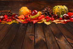 Autumn decoration on wooden background Stock Photo