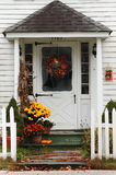 Autumn Decorations. Doorway decorated for fall Stock Photography