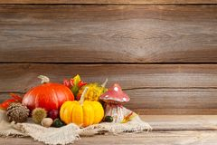 Autumnal background before wooden board Stock Photography