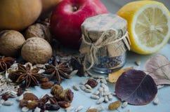 Autumn Decorations Frutta secca e bottiglia dell'anice stellato Immagini Stock Libere da Diritti