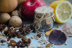 Autumn decorations. Star anise dried fruit and bottle Royalty Free Stock Images