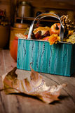 Autumn decorations on vintage kitchen in turquoise and orange Royalty Free Stock Photography