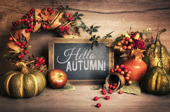 Autumn decorations on wood and chalkboard, text space Royalty Free Stock Photos