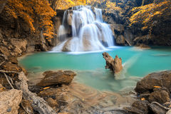 Autumn Deep forest Waterfall in Kanchanaburi (Huay Mae Kamin) Royalty Free Stock Images