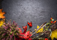 Autumn dekoration table with leafs and  shears Royalty Free Stock Photos