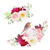 Autumn delicate bouquets vector design objects. Peachy rose, white peony, pink carnation, orchid, wild flowers, eucalyptus.Small cute robin bird. Wedding Stock Photo