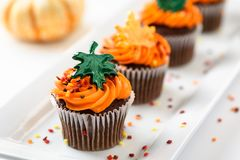 Autumn delicious cupcakes decorated with orange frosting, colorful sprinkles and maple leaves.  Royalty Free Stock Photo