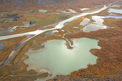 Autumn. Delta in autumn colors, in an arctic National Park in Sweden Royalty Free Stock Images