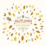 Autumn Design with Autumnal Leaves. Illustration of a Fall Background Design with Autumnal Leaves Royalty Free Stock Photo