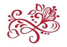 Autumn Design Elements floral tiré par la main d'isolement sur le fond blanc pour la rétro conception Calligraphie et lettrage de Image stock