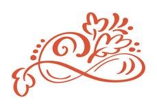 Autumn Design Elements floral tiré par la main d'isolement sur le fond blanc pour la rétro conception Calligraphie et lettrage de Images libres de droits