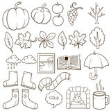 Autumn design elements vector illustration. Autumn, colorless, black and white Royalty Free Stock Images