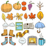 Autumn design elements vector illustration. Autumn, colorless, black and white Stock Image