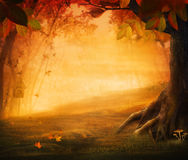 Autumn design - Forest in fall. Autumn valley with mushrooms Falling leaves and bird house in he background.  Space for your autumnal text Stock Photos