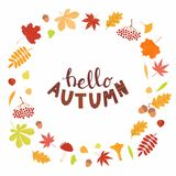 Autumn design with frame of leaves, lettering royalty free illustration