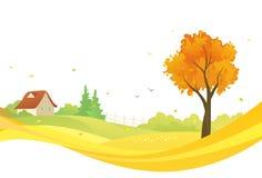 Autumn design. Illustration of an autumn landscape Royalty Free Stock Photos