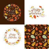 Autumn design set. Vector set of autumn greeting cards and backgrounds. Seamless pattern, autumn monoline lettering, wreath, autumn elements Stock Photo
