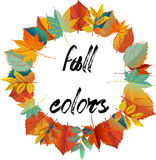 Autumn design. Wreath of colorful leaves.warm color Stock Photography