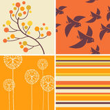Autumn designs of retro birds, flowers, stripes. Coordinating autumn designs of retro birds, flowers, stripes for greeting cards, banners, stationary Stock Photo