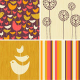 Autumn designs of retro birds, flowers, stripes. Coordinating autumn designs of retro birds, flowers, stripes for greeting cards, banners, stationary royalty free illustration