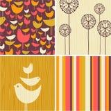 Autumn designs of retro birds, flowers, stripes Stock Image