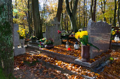 Autumn details on Polish cemetery Royalty Free Stock Photos