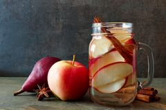 Autumn detox water in a mason jar with slate background Royalty Free Stock Photo