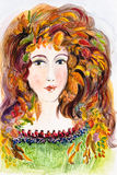 Autumn Deva. Original watercolour art work depicting a young woman as a deva or spirit of autumn. Her hair is filled with leaves and her dress is edged with Stock Image