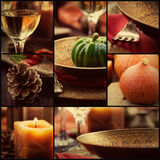 Autumn dinner collage Stock Image