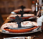 Autumn Dinner Party Plates Royalty Free Stock Photography