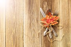 Autumn dinner place setting for Thanksgiving holiday with colorful maple leaves on rustic wooden boards. Toned royalty free stock images
