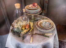 Autumn dinner table Royalty Free Stock Image