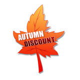 Autumn discount in 3d leaf Stock Photos