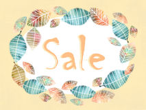 Autumn discount banner with beautiful color wreath with leaves. Royalty Free Stock Photos