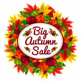 Autumn discount banner with beautiful fall leaves and apples. Autumn sale. Royalty Free Stock Photos