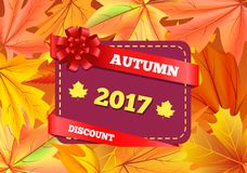 Autumn Discount 2017 Gift Card Design Maple Leaves. Autumn discount 2017 gift card design with maple leaves isolated on background of fall golden foliage vector Stock Images