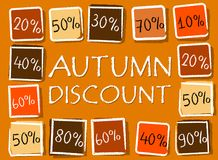 Autumn discount and percentages in squares - retro orange label. Autumn discount and different percentages - retro style orange label with text and squares Stock Photos
