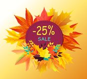 Autumn Discount - 25 Sale Card Design Maple Leaves. Autumn discount - 25 sale gift card design with maple leaves isolated on background of fall golden foliage Royalty Free Stock Photography