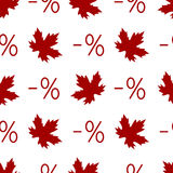 Autumn discount seamless pattern with percent symb Stock Photo