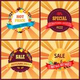 Autumn Discounts 2017 feuilles de conception de cartes cadeaux réglées Photo stock