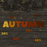Autumn discounts. wooden texture image with the words -autumn- and the shadow of a mountain ash branches. Vector illustration Stock Photography