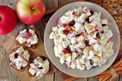 Autumn dish with chicken, apples, nuts, cranberries, on crackers Royalty Free Stock Image